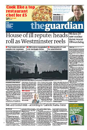 2009-05-15 Guardian front page