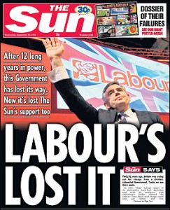 2009-09-29 The Sun front page Labour's Lost It