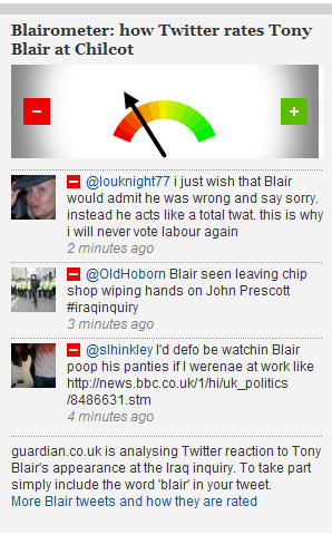 2010-01-29. Blairometer Guardian Chilcot Inquiry live