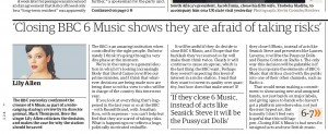 2010-03-03. Lily Allen Saving BBC 6 Music in the Guardian