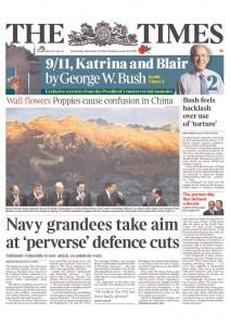 2010年11月10日的《泰晤士报》头版