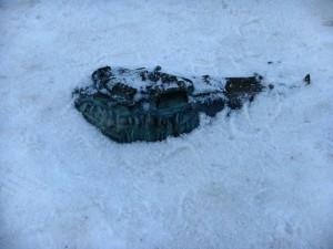 苏格兰国家美术馆前的爱丁堡城区模型,被大雪淹没得只露出爱丁堡城堡了。