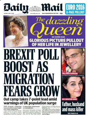 Daily Mail 很自豪地宣布是移民问题让脱欧在民调中领先