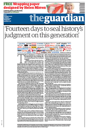 2009-12-07.Guardian. front page climate change editorial