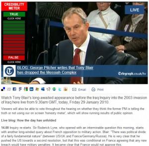 2010-01-29. Telegraph Chilcot Inquiry live