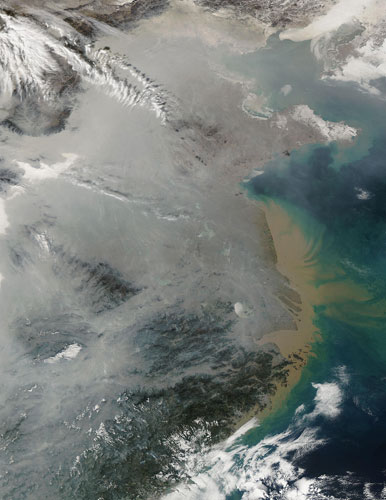 2010-02-03. Pollution create haze over eastern China