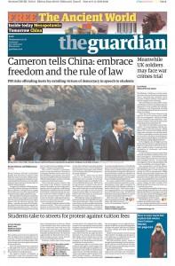 2010年11月10日《卫报》头版