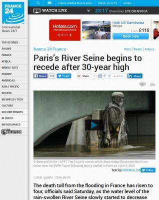巴黎洪水新闻中的朱阿夫士兵雕塑
